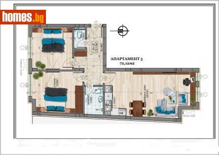 Тристаен, 84m² - Апартамент за продажба - 56768524