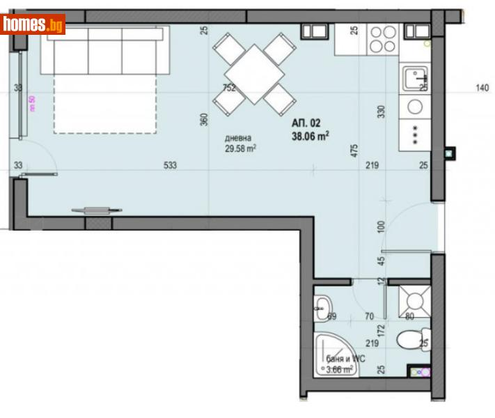 Едностаен, 47m² - Жк Южен, Пловдив - Апартамент за продажба - Филипополис БФА - 67256702